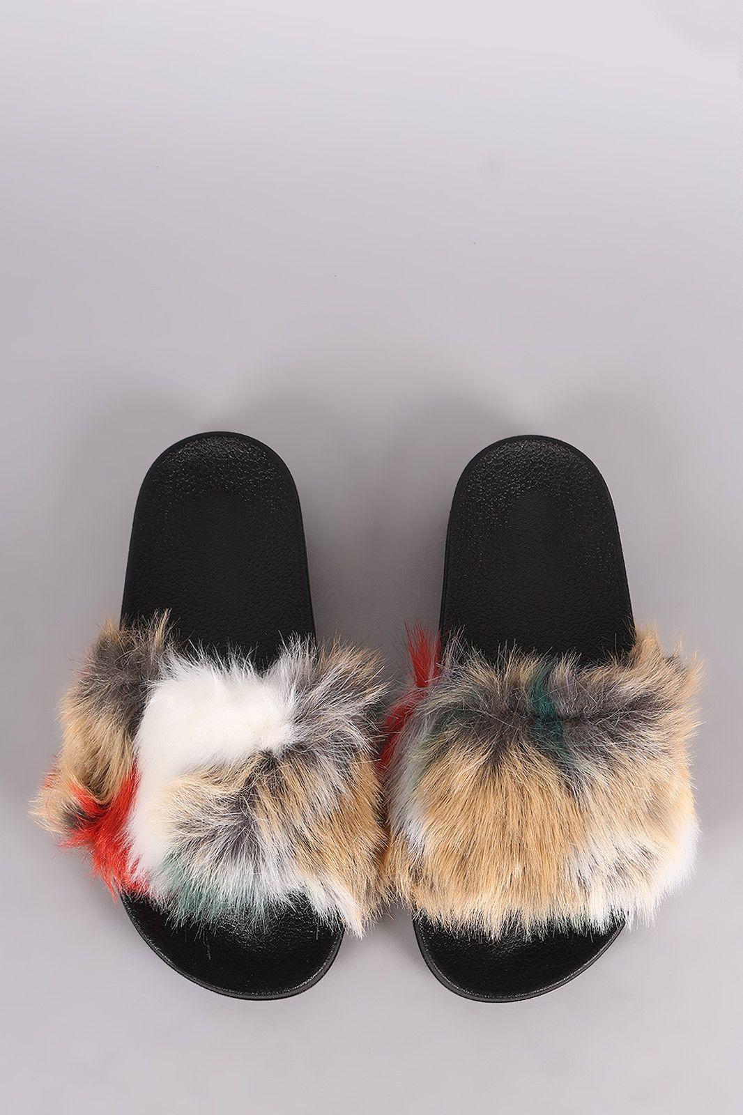 07336bf8a1c5 Patchwork faux fur slide sandal fur slides and products jpg 1066x1600 Faux  fur slides
