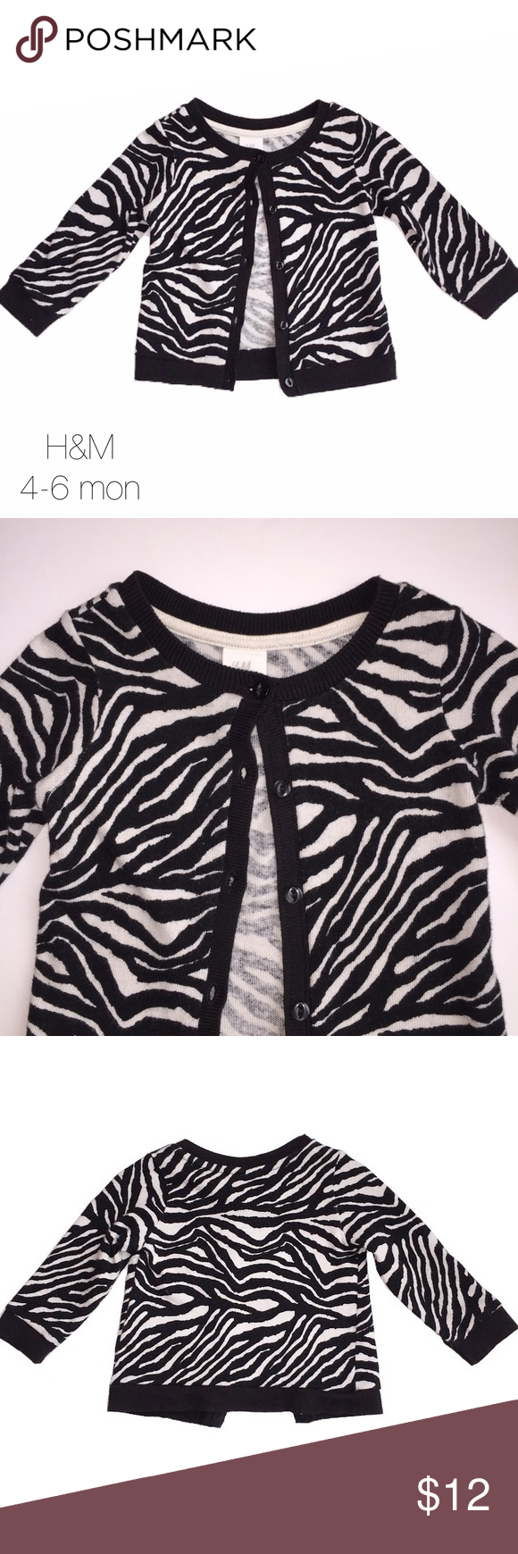 H&M Black White Zebra Cardigan 4-6 mon Very gently worn H&M Black White Zebra Cardigan 4-6 mon H&M Shirts & Tops Sweaters