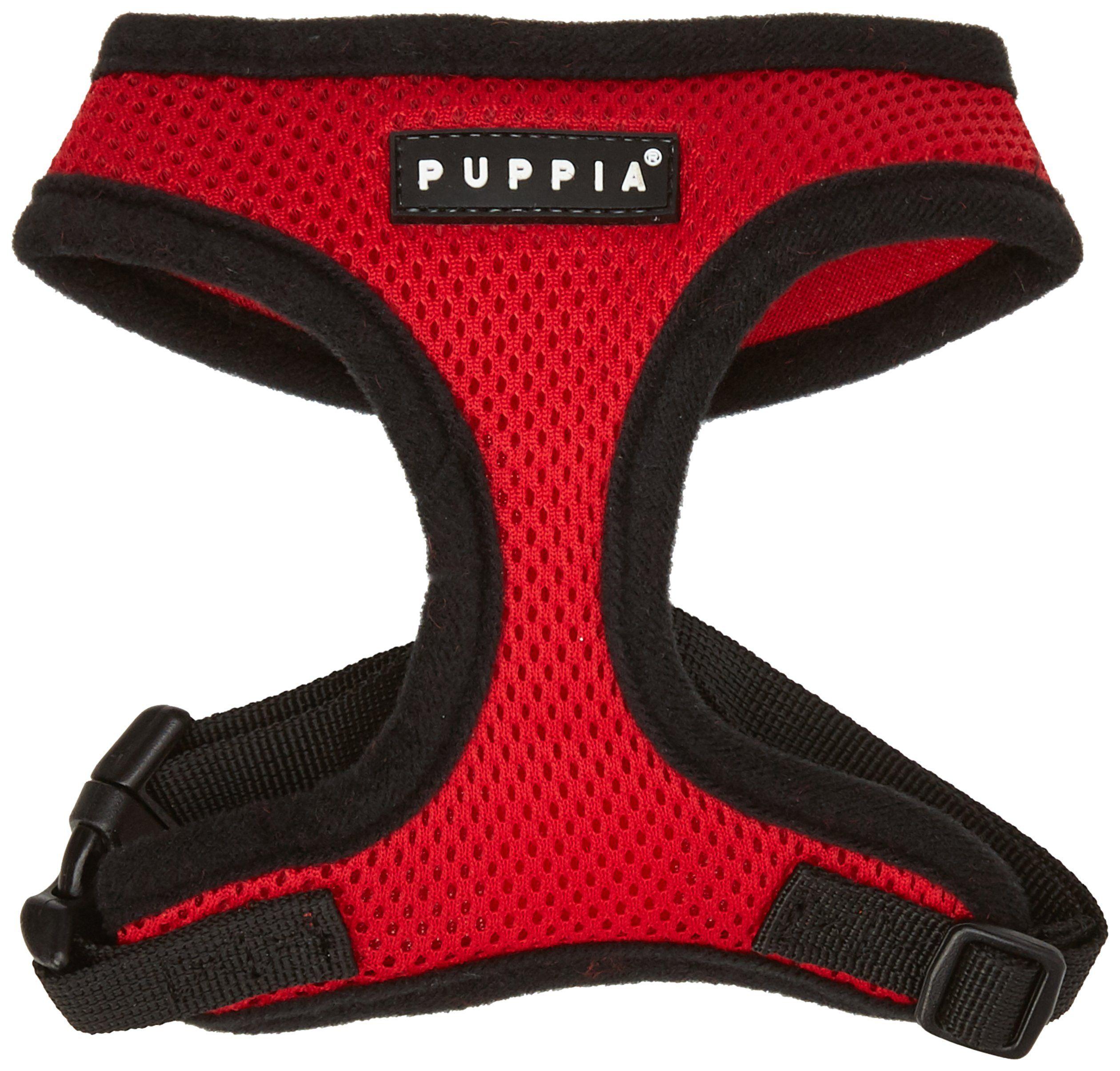 Authentic Puppia Soft Dog Harness Red Medium Details