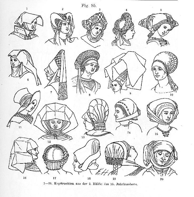 Hoods Hats 2nd Half 15th Century Women Southern Germany Germany Fashion German Costume 15th Century Clothing