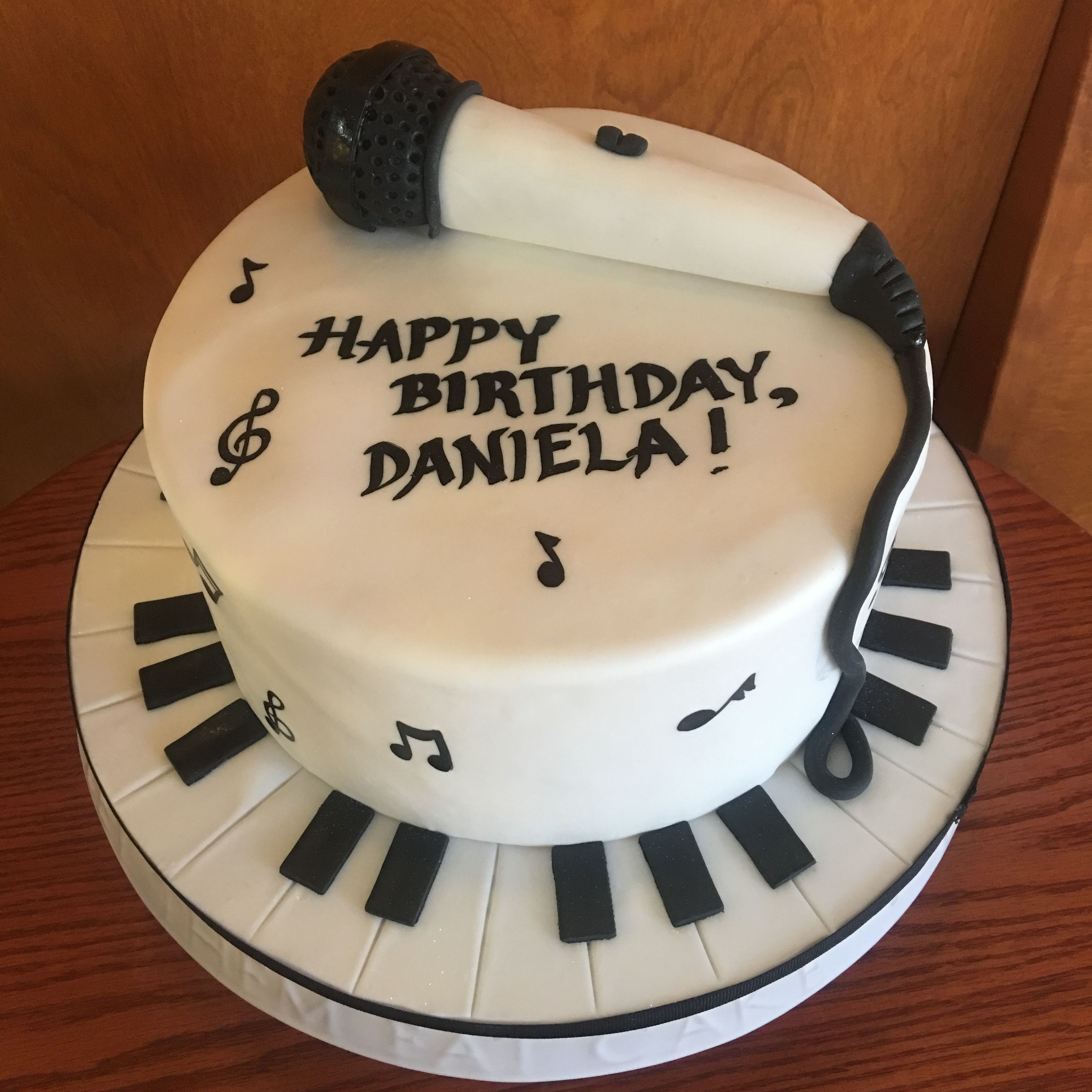 Musical Cake With Fondant Mic ;and Piano Key Base