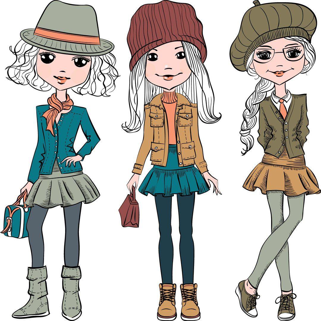 Девушки модные рисунки на