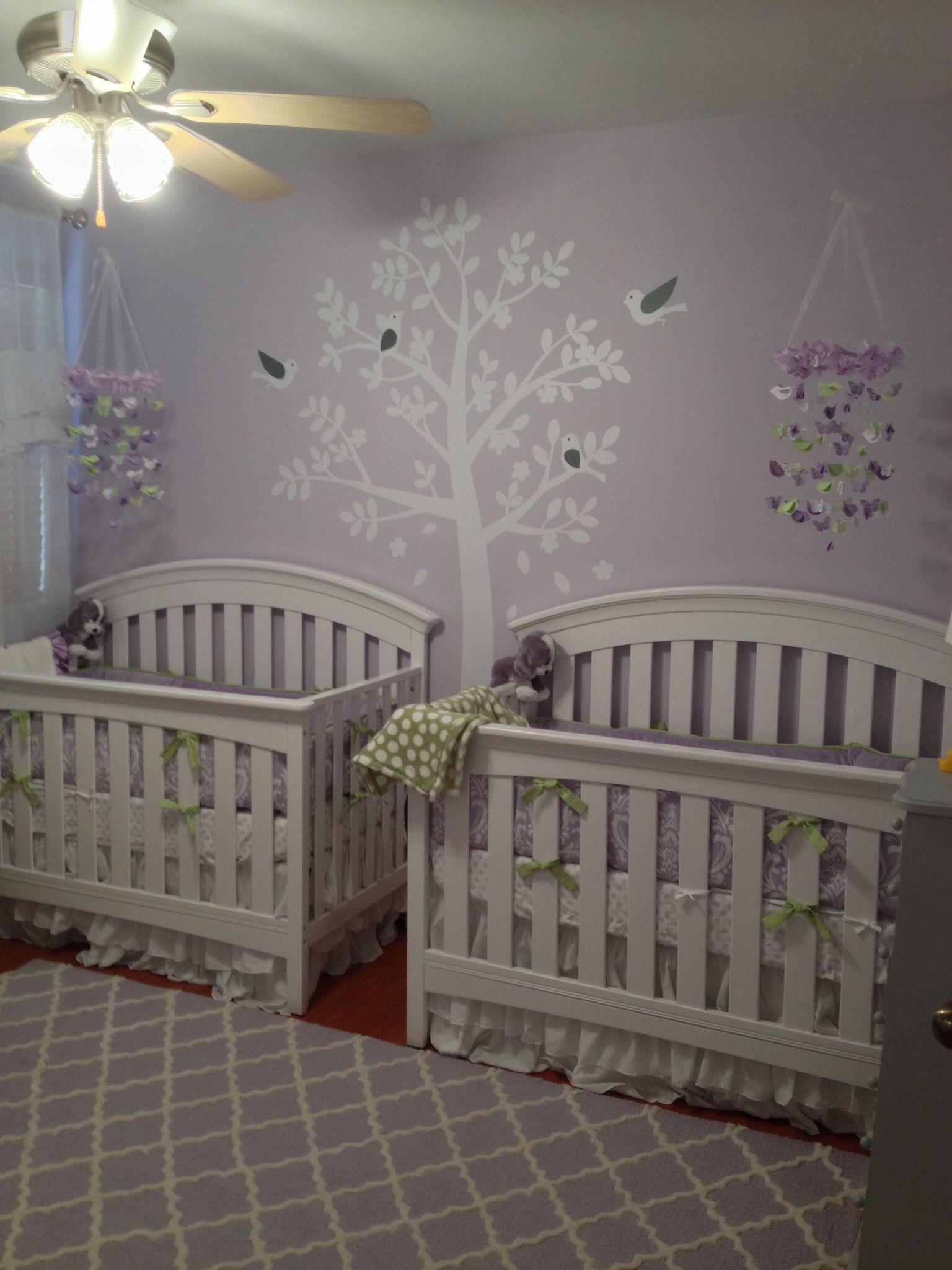 Pink, Ivory and Grey Twin Girls Nursery | Twin girls, Nursery and ...