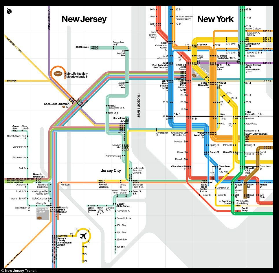 Subway Map From New Jersey To New York.The New York New Jersey Subway Map Designed For The Super Bowl Nyc