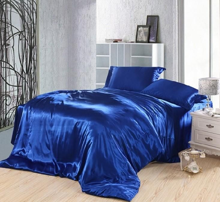 royal blue duvet covers bedding set silk satin california king size queen full twin double fitted bed sheet bedspread doona 5pcs - Cal King Sheets