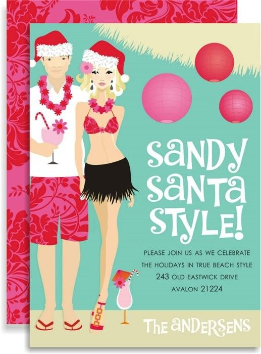 Christmas In July Ideas For A Party Part - 44: Sandy Santa - Blonde Invitations. Christmas In JulyChristmas  PartiesChristmas Party InvitationsSummer IdeasInvitation ...