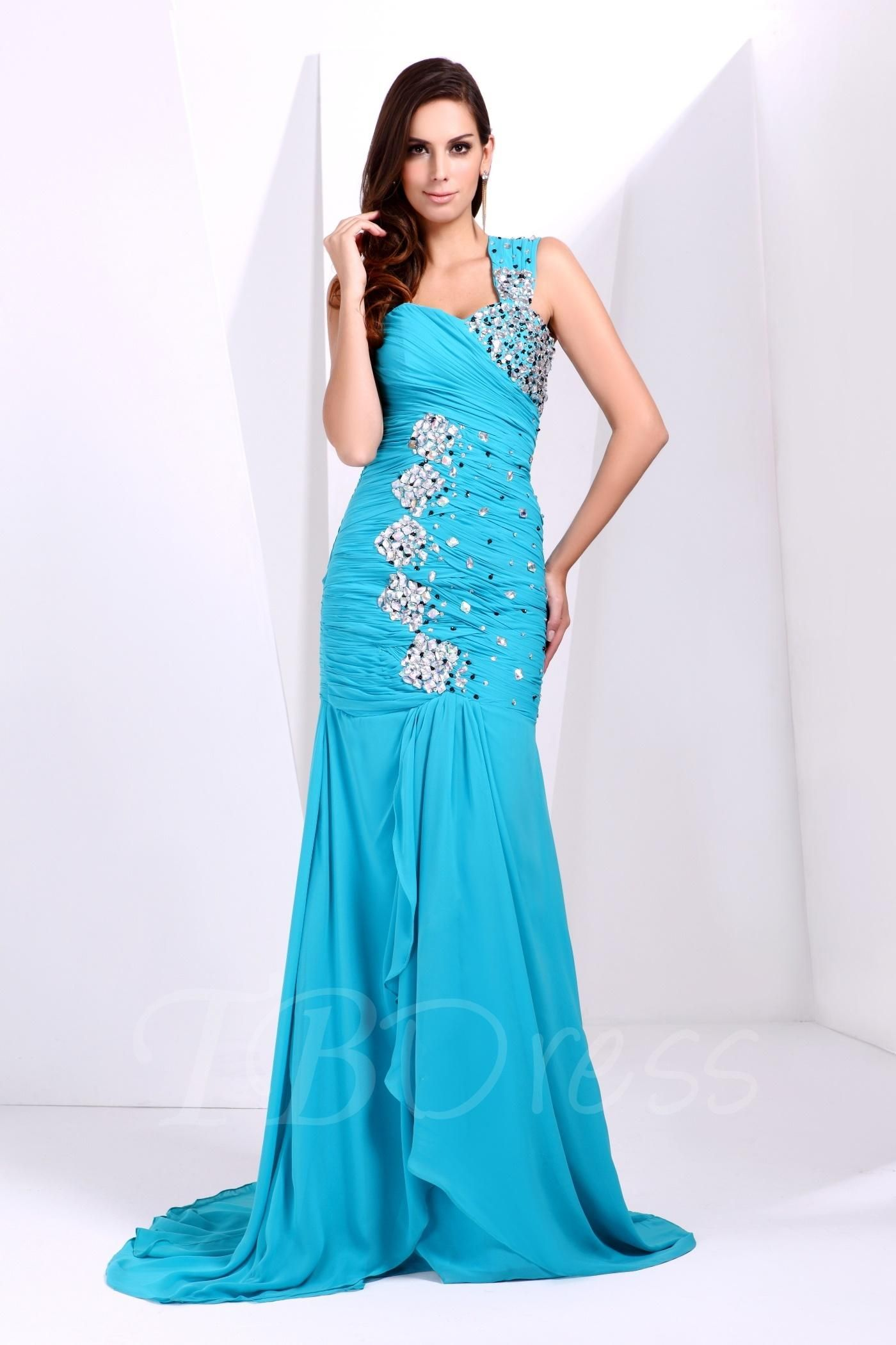 TBDress - #TBDress One-Shoulder Beading Ruched Talines Long Prom ...