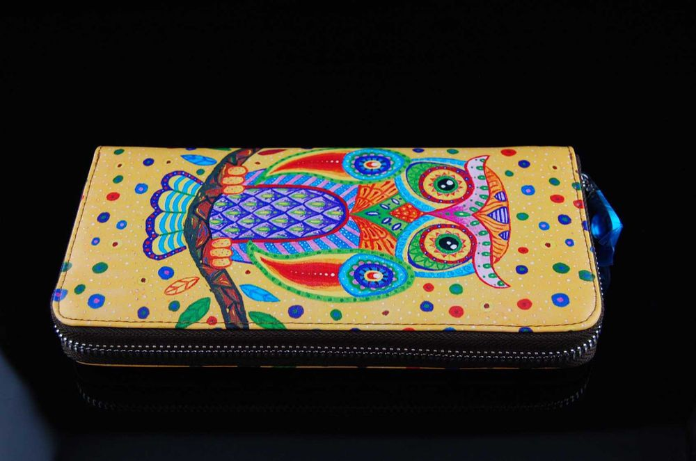 Womens' owl animal genuine leather zipper wallet card holder coin purse Clutch…