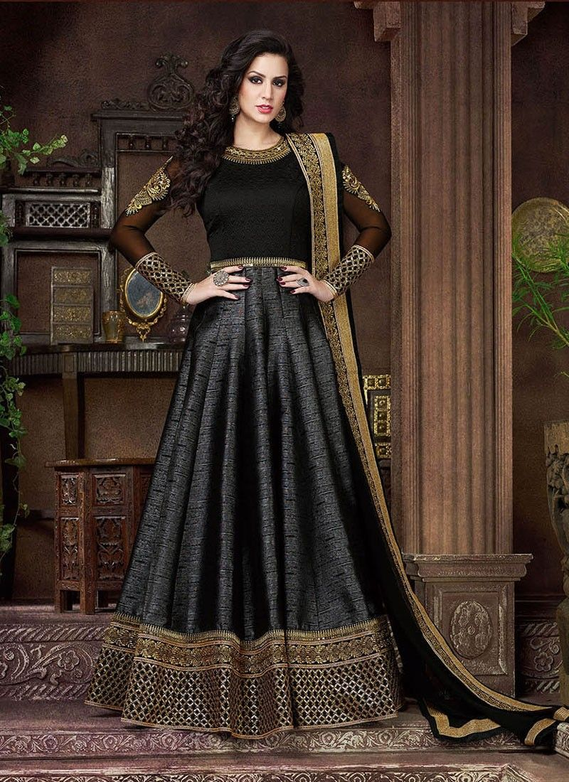 fe4ebec408 Black abaya style Pakistani wedding wear anarkali frock in silk ...