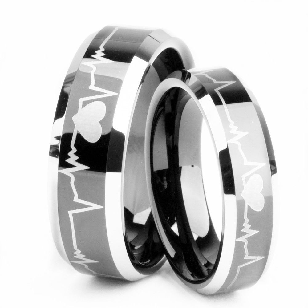 Tungsten Carbide Rings Couple Matching Wedding Band Rings