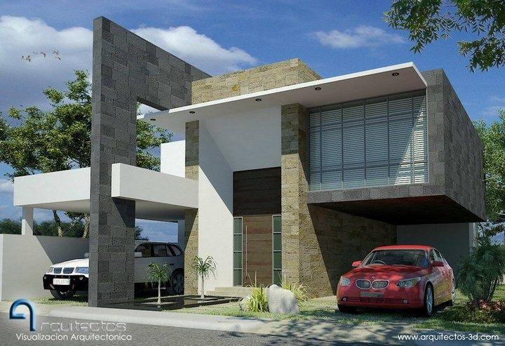 fachadas de casas minimalistas de dos pisos con balcon