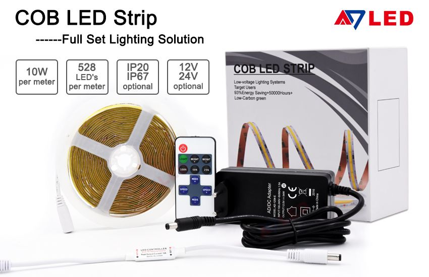 Adled Light High End 12v 24v No Resistor Dotless Cob Flexible Led Strip In 2020 Led Flexible Strip Led Strip Led Light Strips