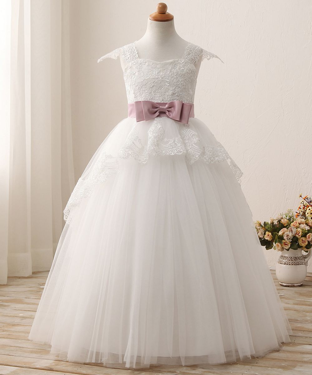 Abaowedding Elegant Lace Appliques Cap Sleeves Tulle Flower Girl Dress White Ivory 1 12 Year Old White Flower Girl Dresses Flower Girl Dresses Tulle Wedding Flower Girl Dresses [ 1200 x 1000 Pixel ]