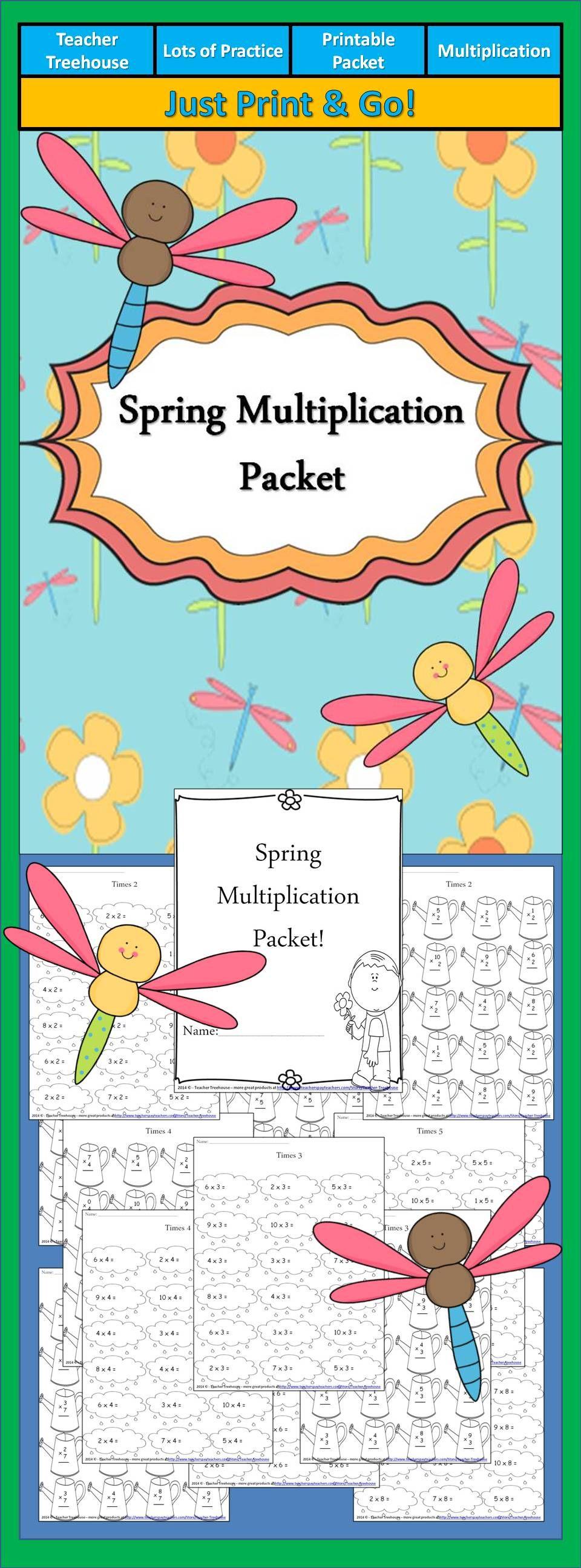 Spring Multiplication Worksheet Packet Just Print And Go Multiplication Fun Math Math Classroom [ 2592 x 960 Pixel ]