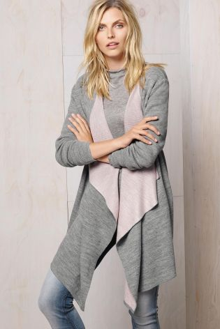 Buy Grey Double Face Waterfall Cardigan from the Next UK online ...