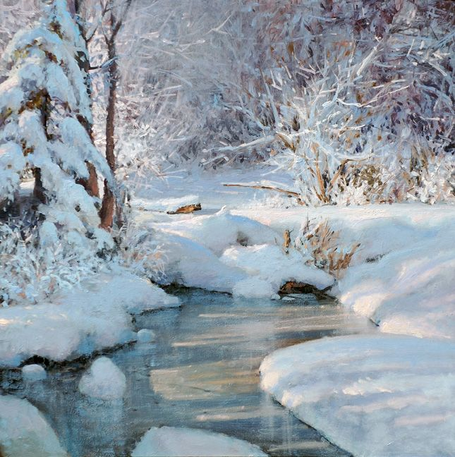 Michael Godfrey The Beauty Of Winter Oil 13x13 Winter Landscape Painting Winter Landscape Winter Painting