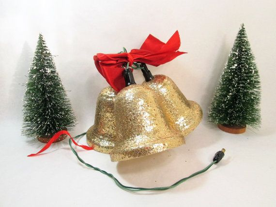 vintage christmas bell lights gold glitter bell by girlpickers