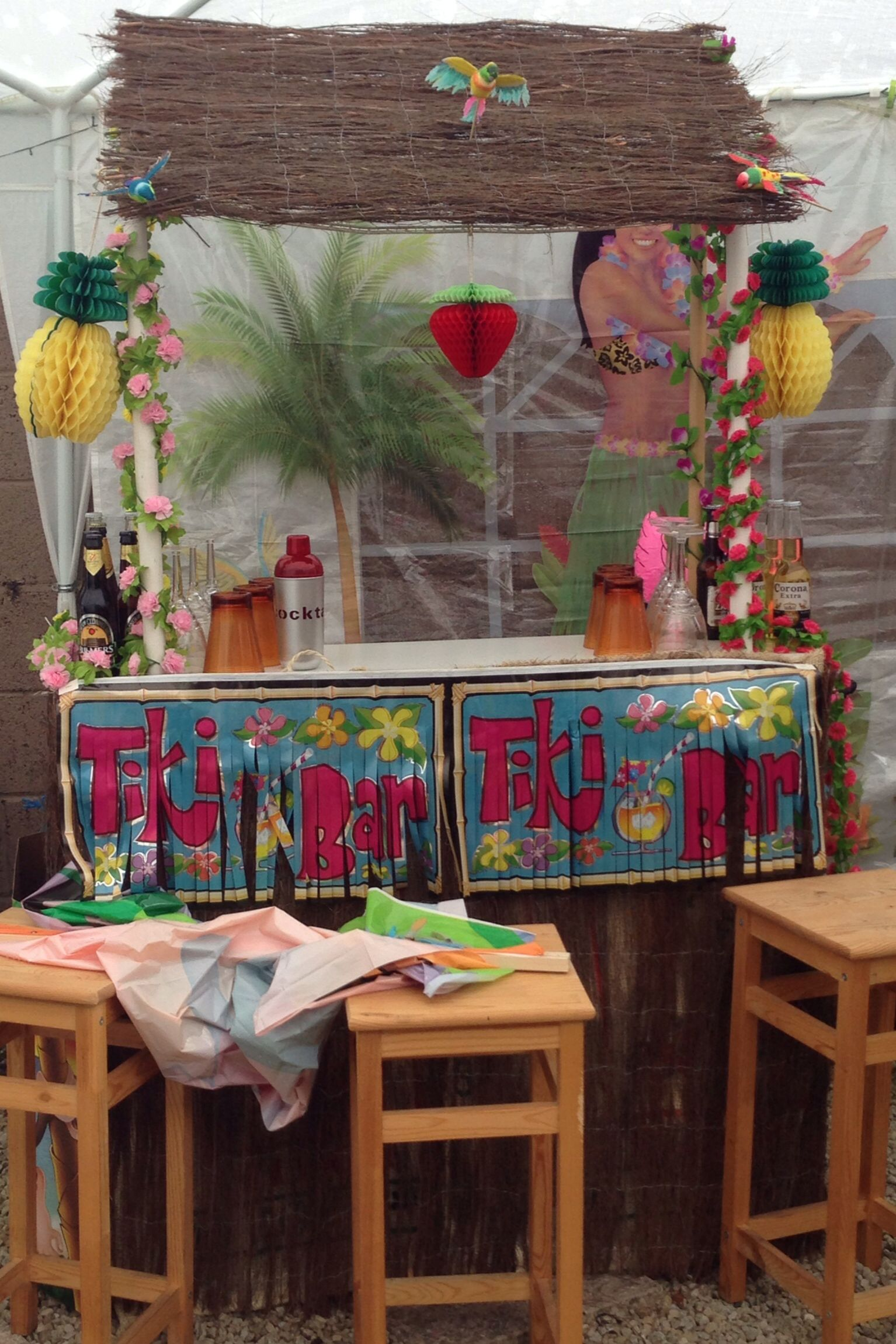 Luau party, homemade tiki bar