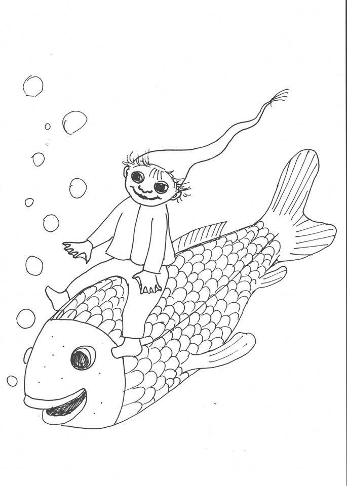 kleine wassermann ausmalbild fische basteln
