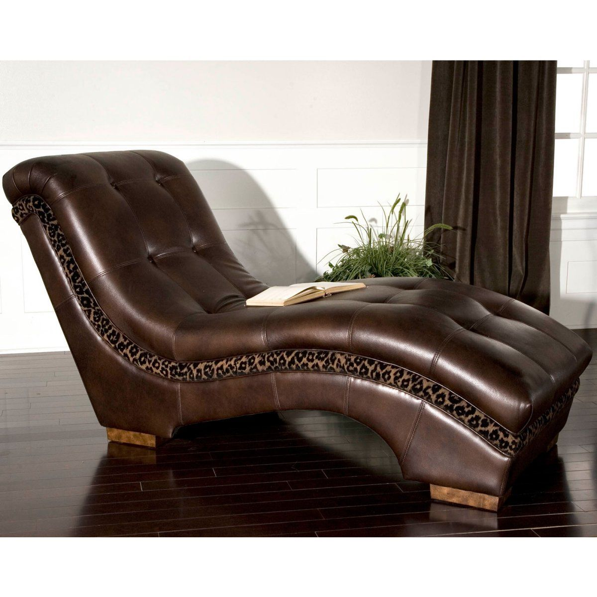 Divinity Chaise Lounge With Leopard Print Accent