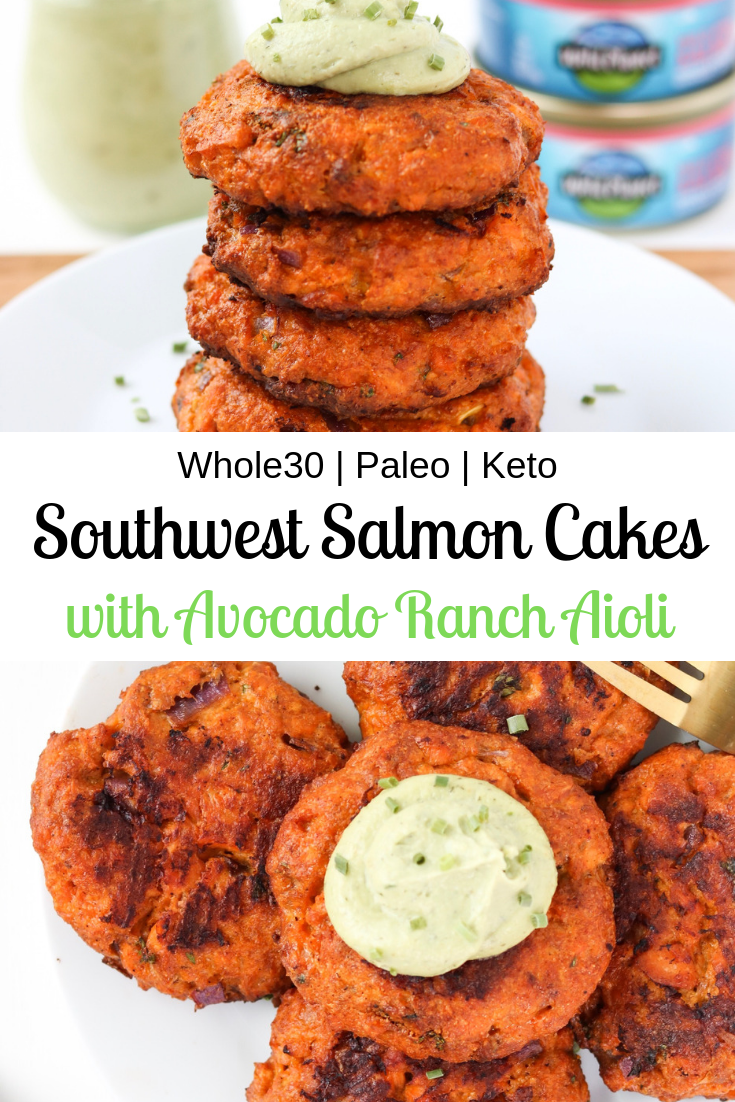 Southwest Salmon Cakes with Avocado Ranch Aioli #avocadoranch