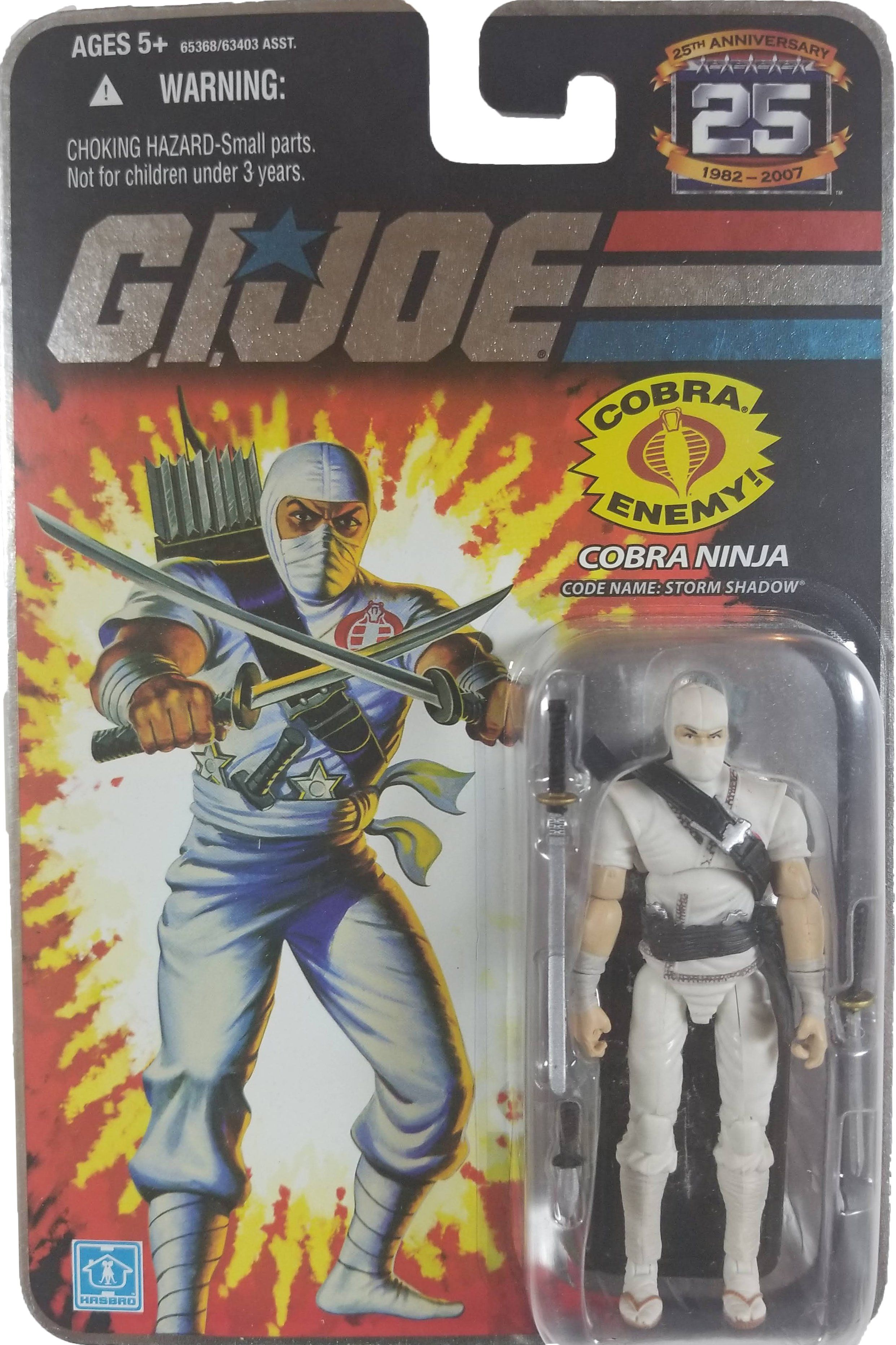 Gi joe 25th Silver Logo Storm Shadow Ninja 3 3//4 Action Figure Package 1988
