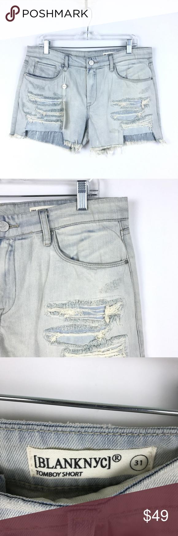 d2bf80f53fec Blank NYC cutoff Denim Tomboy Shorts NEW Blank NYC Cutoff Distressed Denim  Shorts Women's Size Embroidered