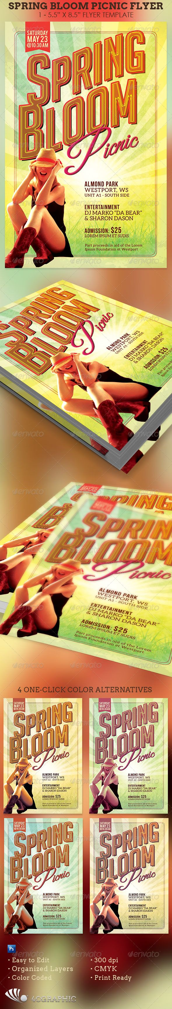 Spring Bloom Picnic Flyer Template  Spring Blooms Flyer Template