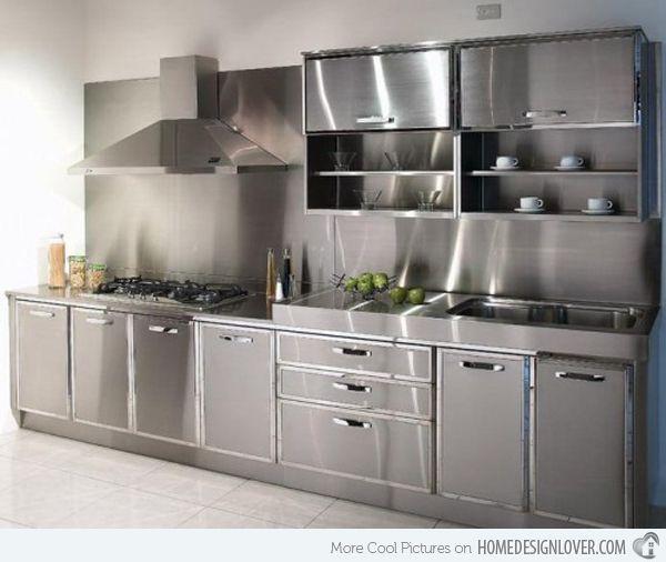 16 Metal Kitchen Cabinet Ideas Home Design Lover Aluminum Kitchen Cabinets Steel Kitchen Cabinets Stainless Steel Kitchen Cabinets