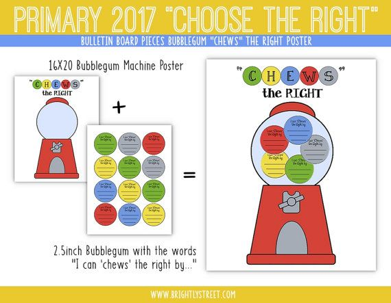 LDS Primary 2017 Choose the Right Bulletin Board Bubblegum Machine ...