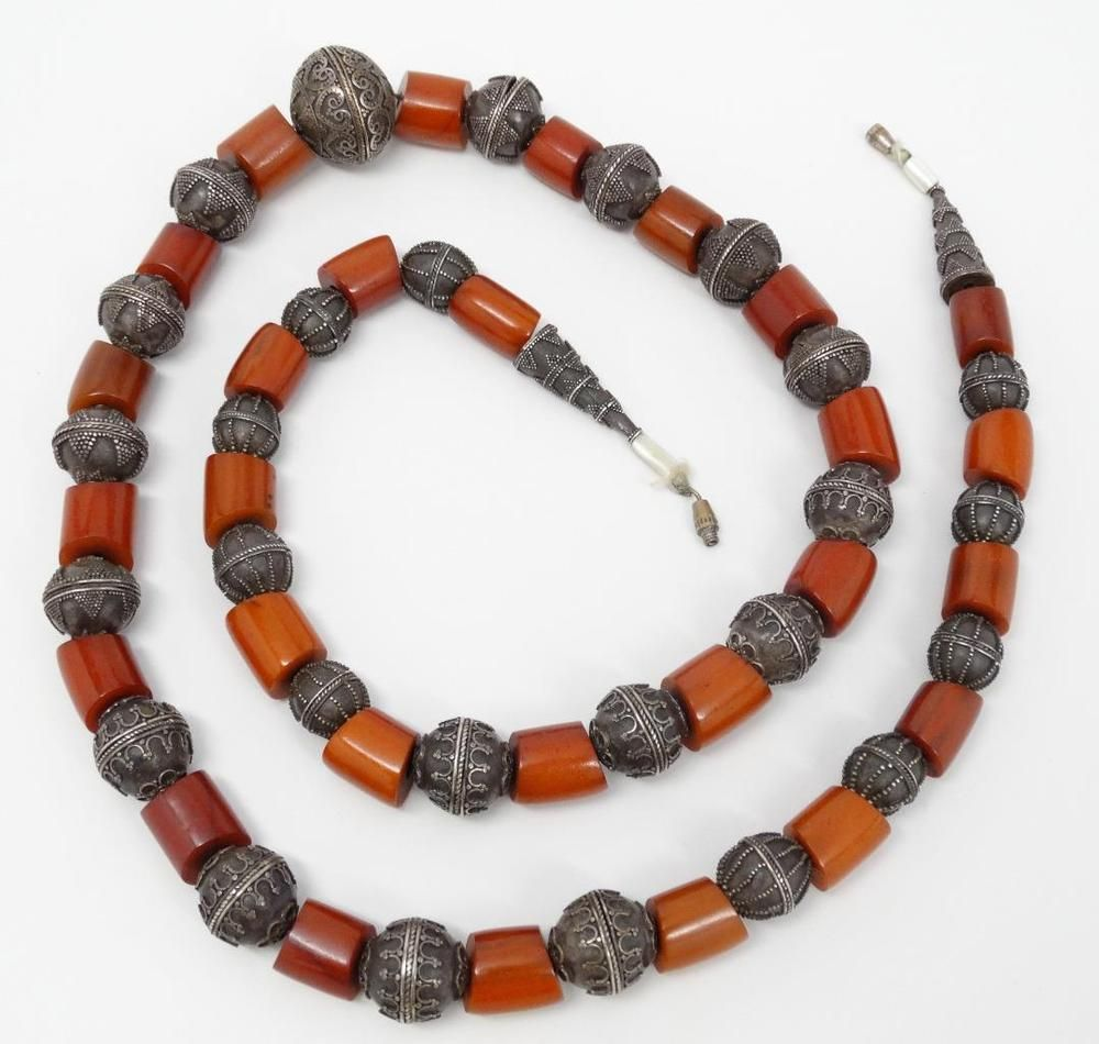 "Antique Amber Bakelite & Yemen Yemenite Silver Globe Bead 29"" Necklace"