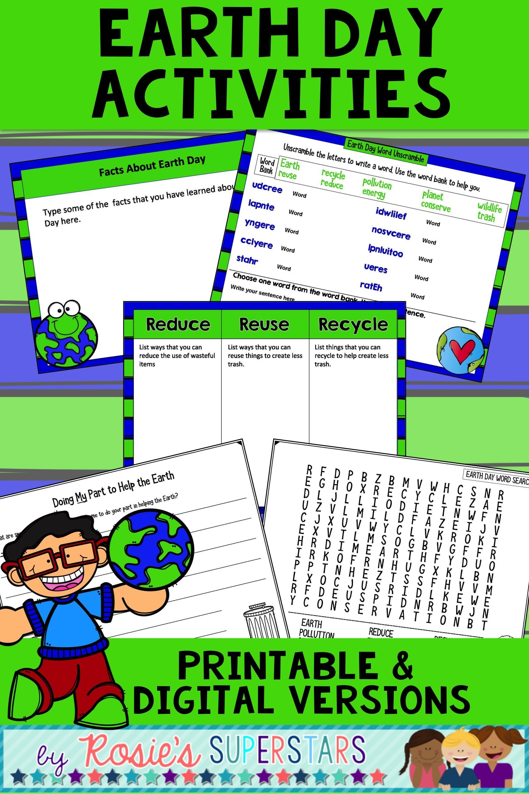 image regarding Printable Versions named Planet Working day Creating Prompts and Things to do: Electronic and