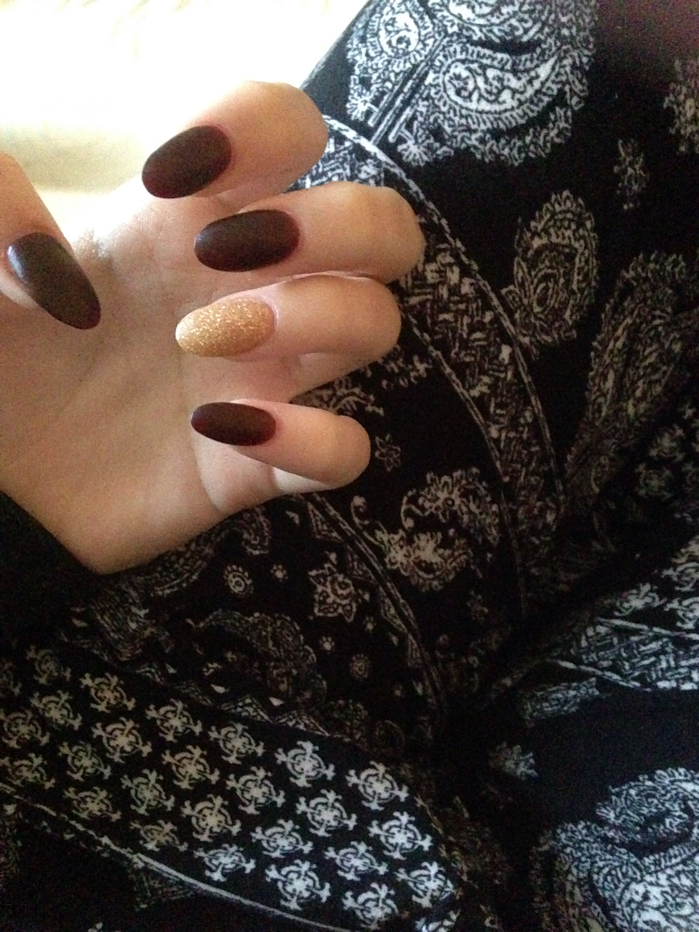 Maroon and gold accent almond nails non acrylic | Nails | Pinterest ...