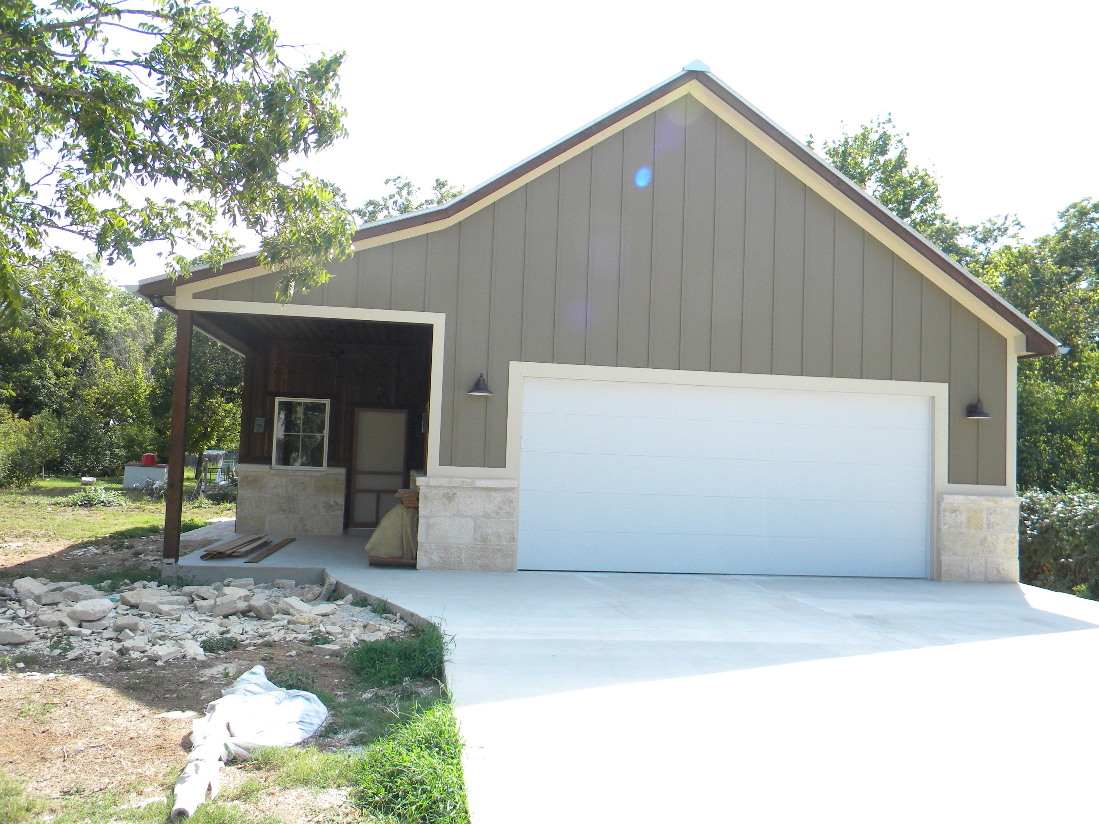 18x8 Flush Steel Garage Door Before Barn Look Faux Paint Steel Garage Doors Garage Door Paint Steel Garage