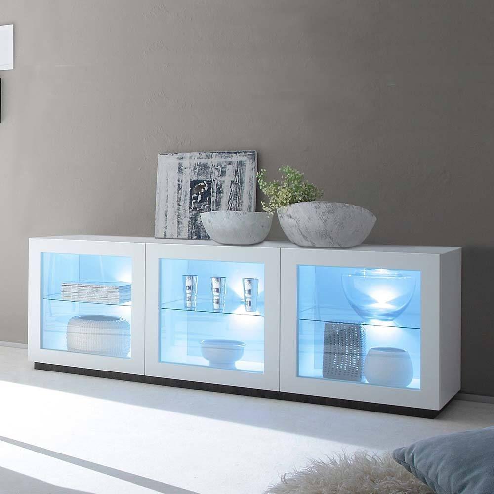 Glas Sideboard in Weiß LED Beleuchtung Jetzt bestellen unter ...