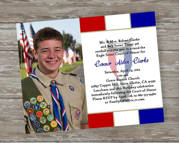 Eagle Scout Court of Honor Invitations Dedicated Scout bluered