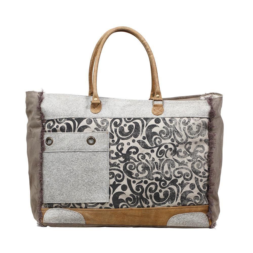 bdfd8050a9fa Grey Floral W/Hair on Hide Pocket Weekender Bag in 2019 | Hustle for ...