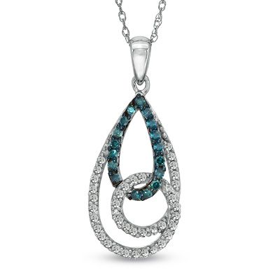 Fine Jewelry 1/3 CT. T.W. White and Color-Enhanced Blue Diamond 10K White Gold Pendant Necklace snIBjx