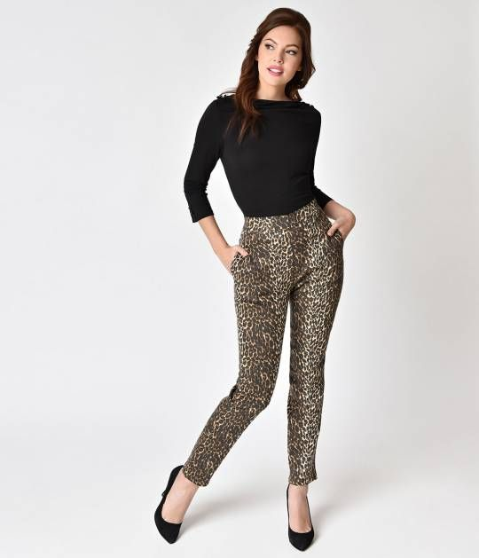 f7b33e782022 The ultimate 1950s inspired Pin-up pant, the Leopard Print Cigarette Pants  from Vixen By Micheline Pitt are sure to turn every head!
