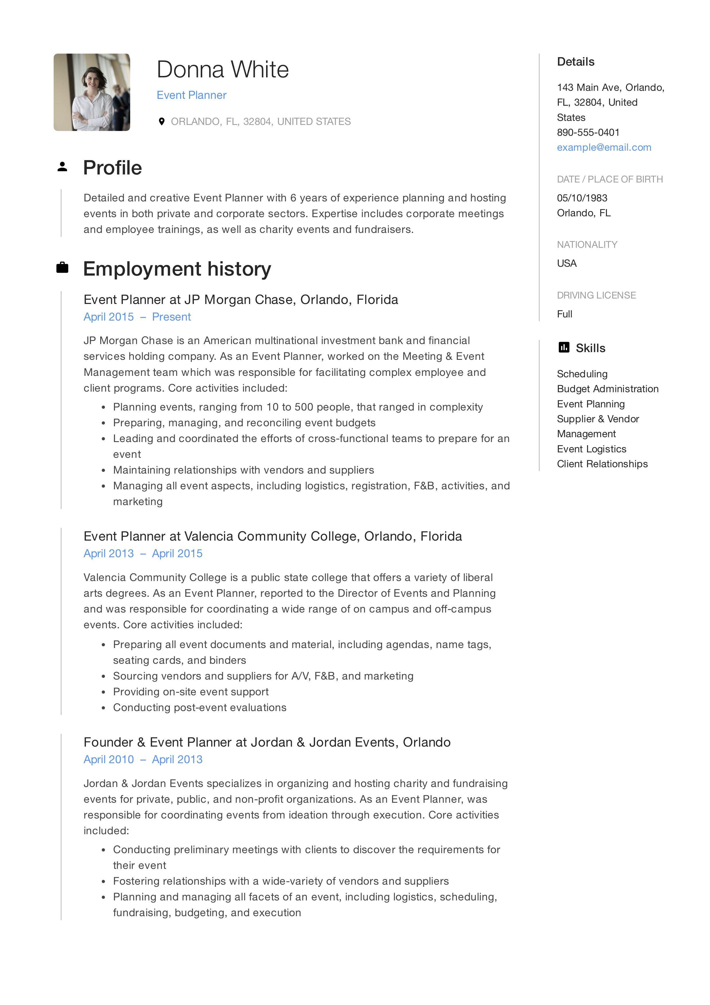 Event planner resume event planner resume resume