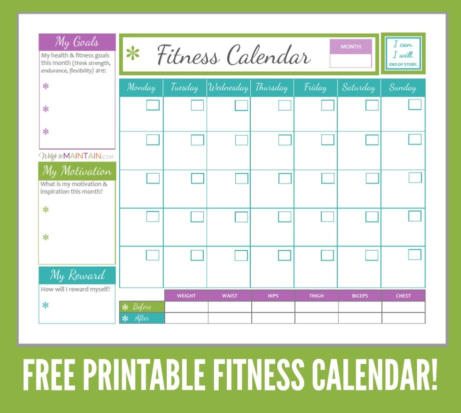 workout and meal plan calendar