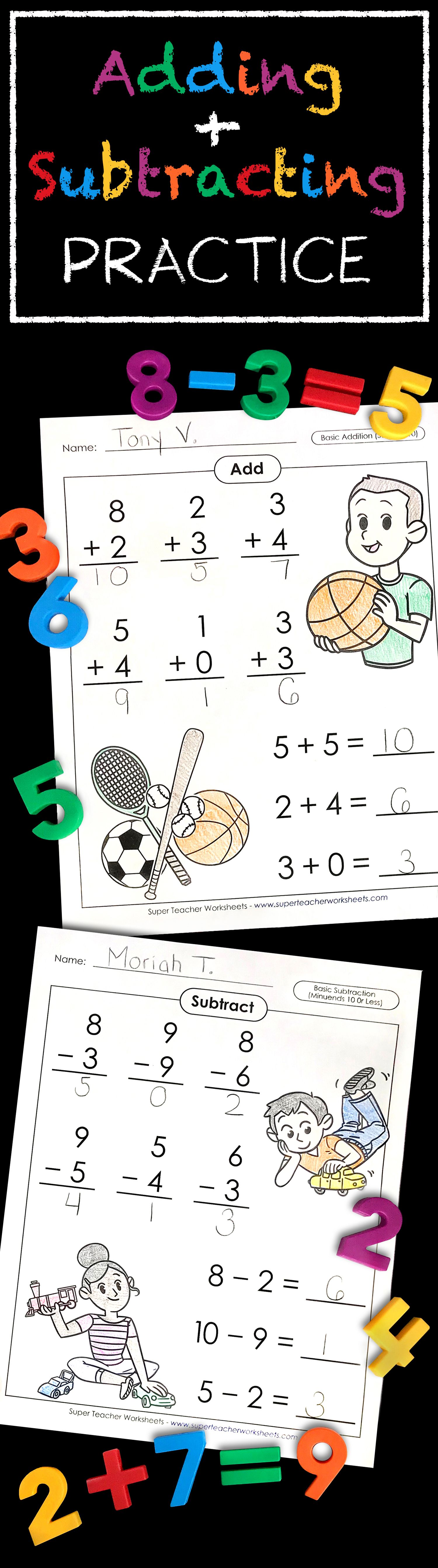 Practice basic #addition and #subtraction with these fun ...