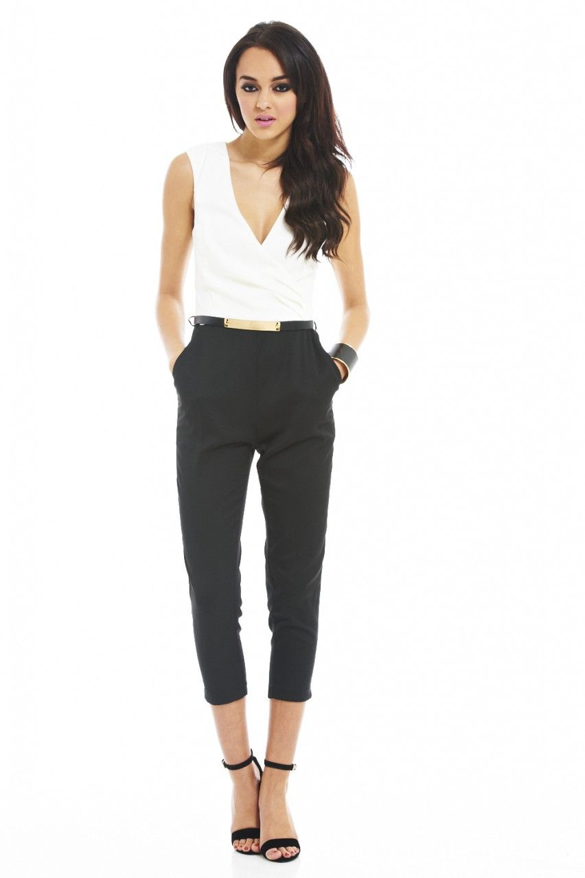 Black & White Color Block Jumpsuit | Woman clothing, Classic and Shops