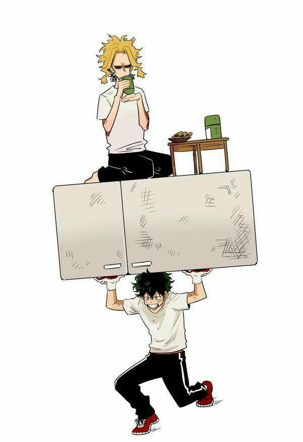 Izuku, All Might, training, funny, drinking, tea, block; My Hero Academia