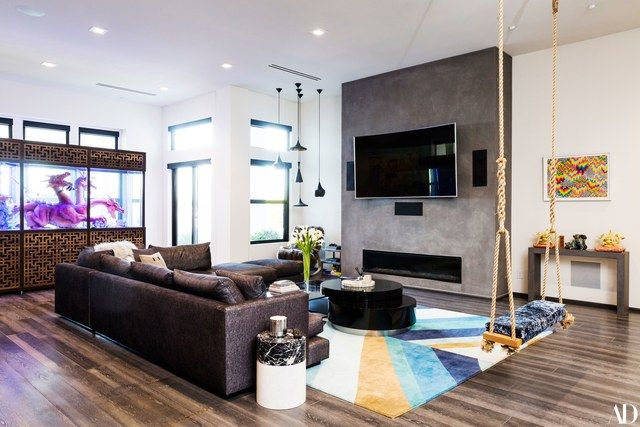 Mansion interior living room with tv  Steve Aoki Takes AD Inside His Modern Art–Filled Mansion | Steve ...
