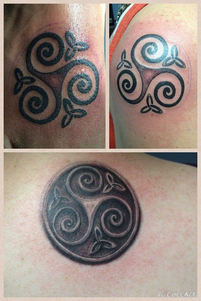 905e44ff8 Triskele - three sisters tattoo. Top left - sister's foot. Top right -  sister's shoulder. Bottom - my back. By Fred Palmer at No Egrets in  Clarksville, TN
