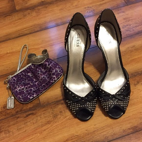 Guess • Black Studded Pumps Lovely Black Studded Pumps from Guess. Slight wear on the sides (pictured), not noticeable when in wear. Besides that, these shoes have a lot more wear left in them! Guess Shoes Heels