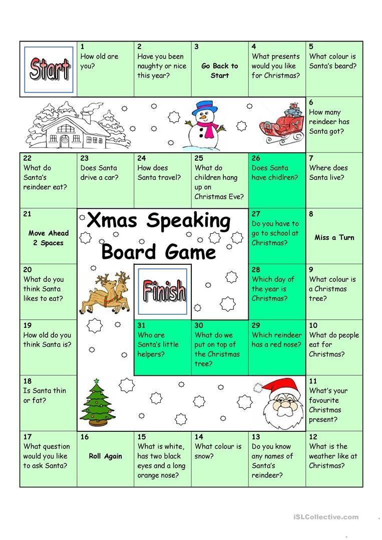 Board Game - Christmas & Santa worksheet - Free ESL printable ...