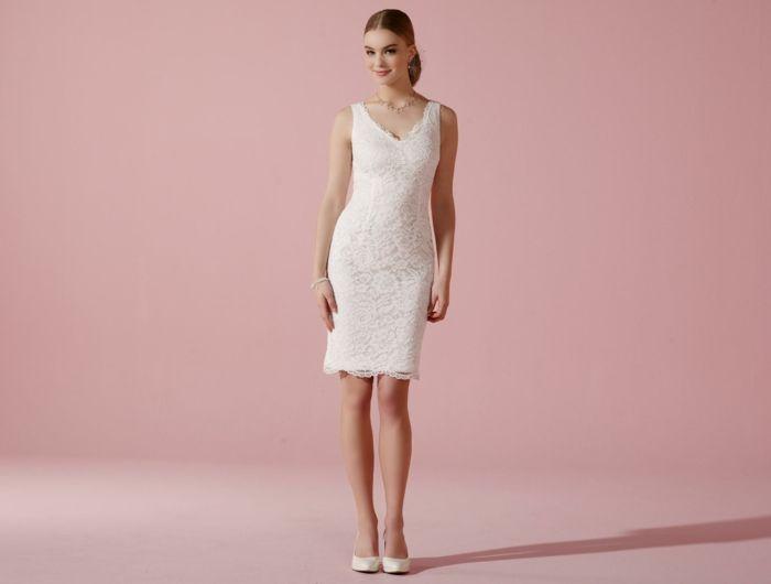 kurze brautkleider 2016 elegante linie weiß etui kleid stretch ...