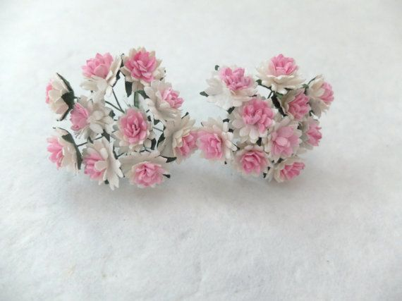 20 15mm mulberry flowers by eastmeetswest on Etsy (Craft Supplies & Tools, Floral Supplies, Artificial Flowers & Plants, paper flower, flower, mulberry paper, mulberry, wedding decor, doll flower, flower wedding favor, 15mm flowers, flower supplies, pink white flowers, cream pink flowers)